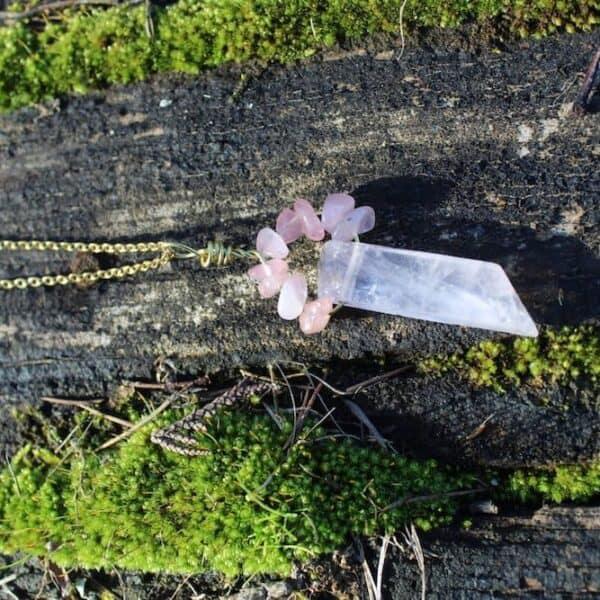 collier quartz rose unique