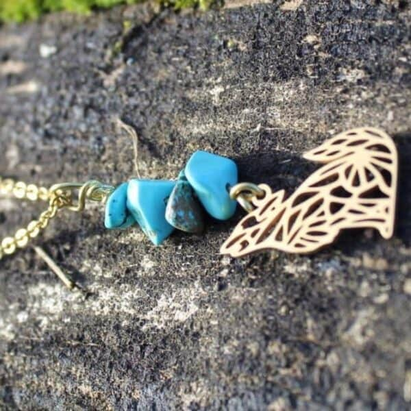 collier turquoise loup