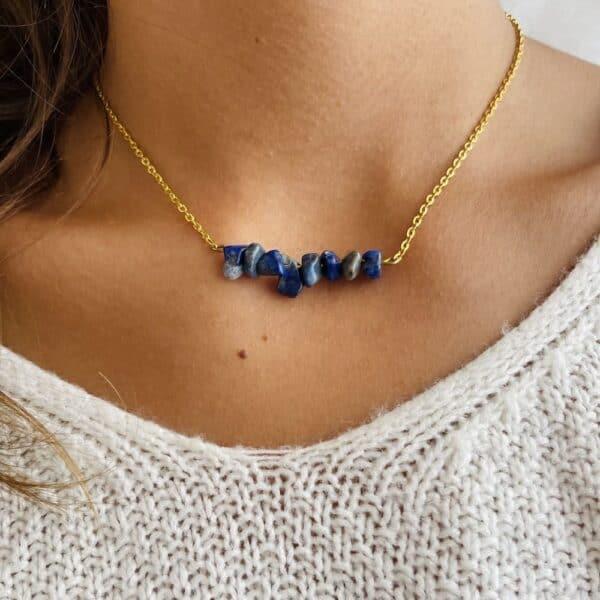 Collier chips horizontal or lapis lazuli