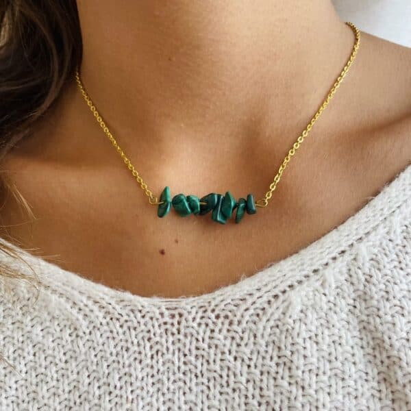 Collier chips horizontal or malachite