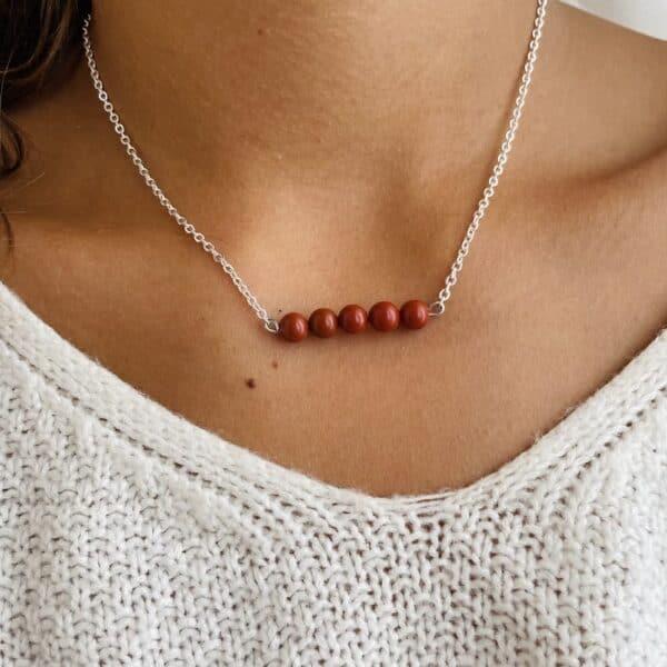 Collier penta horizontal argent jaspe rouge