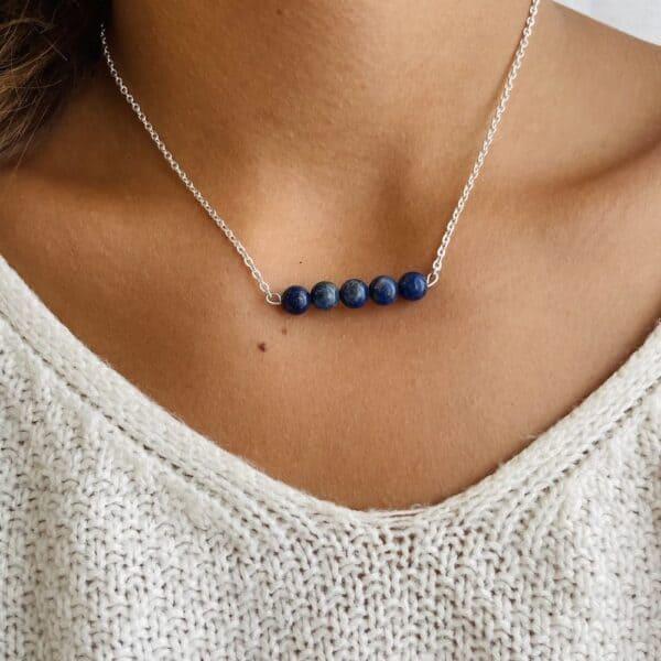 Collier penta horizontal argent lapis lazuli