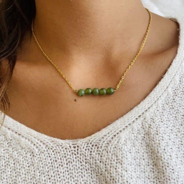 Collier penta horizontal or jade verte