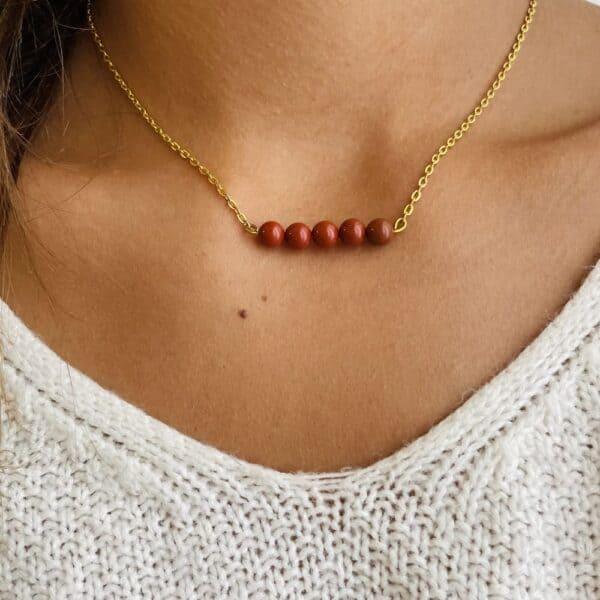 Collier penta horizontal or jaspe rouge