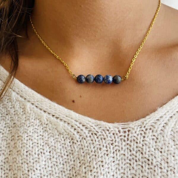 Collier penta horizontal or lapis lazuli