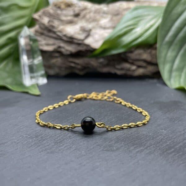 uniperle obsidienne or