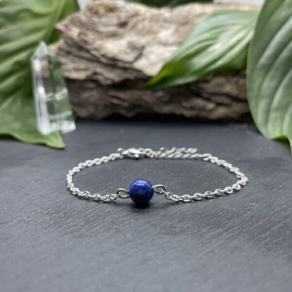Uniperle lapis-lazuli argent