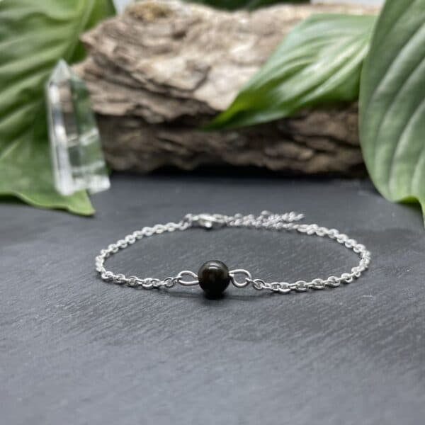 uniperle obsidienne argent