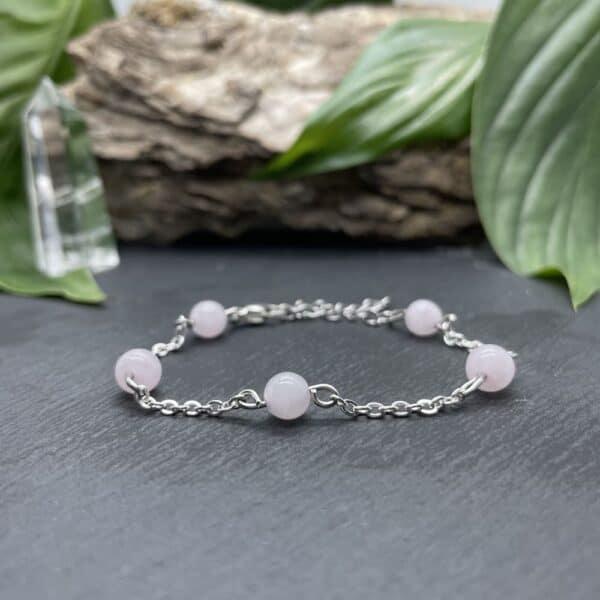 bracelet anthéa quartz rose argent