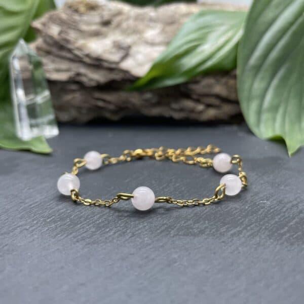 bracelet anthéa quartz rose or