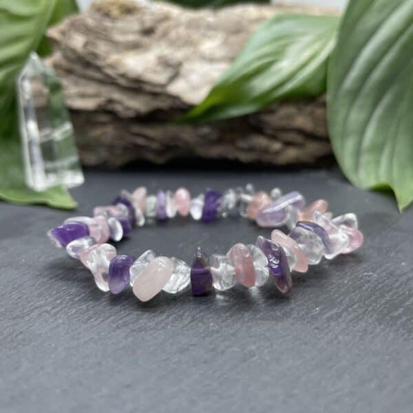bracelet améthyste quartz rose