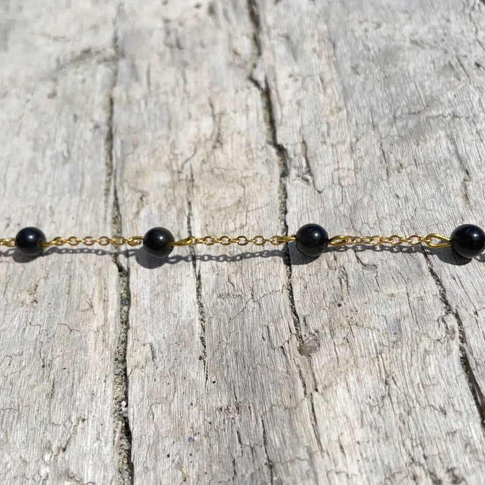 bracelet obsidienne or