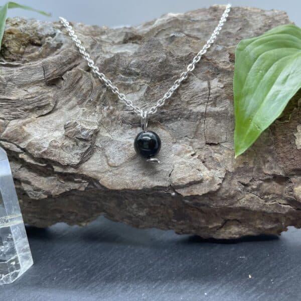 collier uniperle obsidienne
