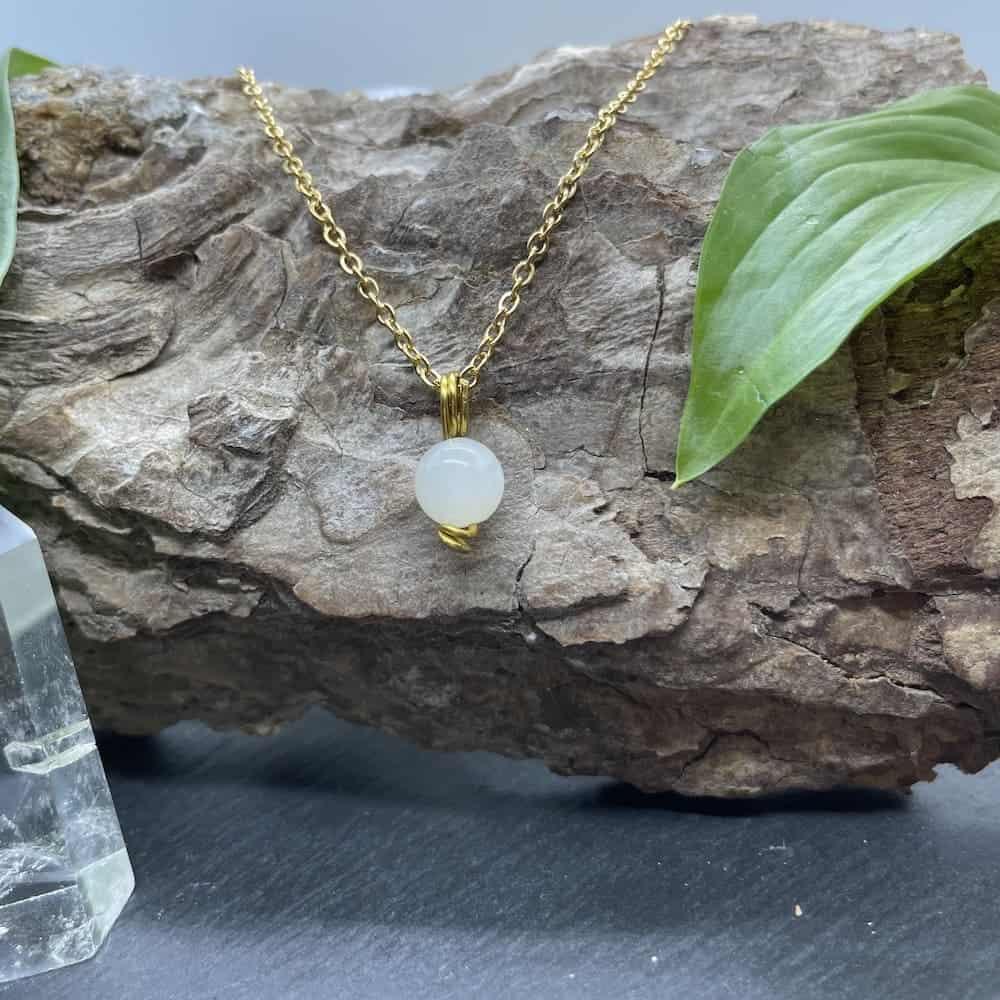 collier uniperle pierre de lune or
