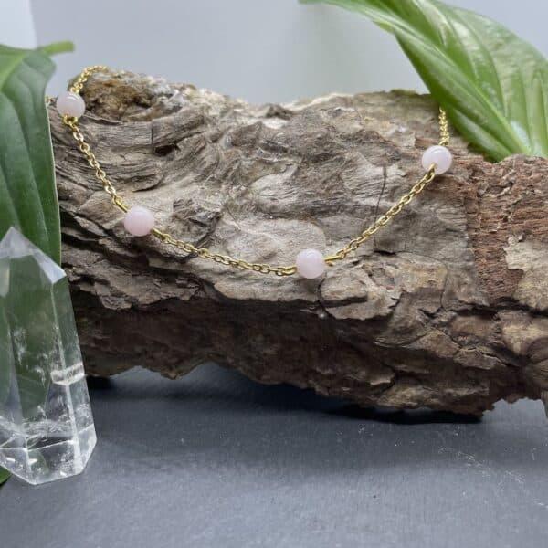 collier quartz rose anthéa