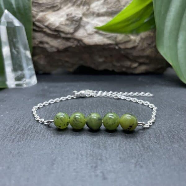 bracelet pentaperle noire argent jade verte