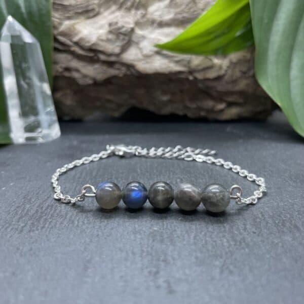bracelet pentaperle noire argent labradorite