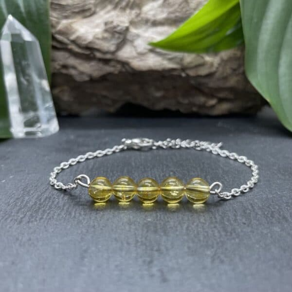 bracelet pentaperle noire argent citrine