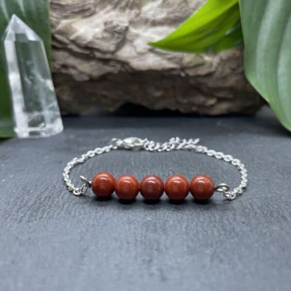 bracelet pentaperle noire argent jaspe rouge