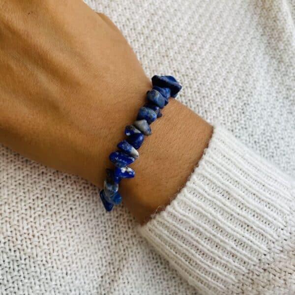 bracelet elastic'chips porté lapis