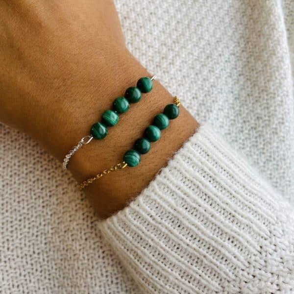 bracelet pentaperle porté double argent malachite