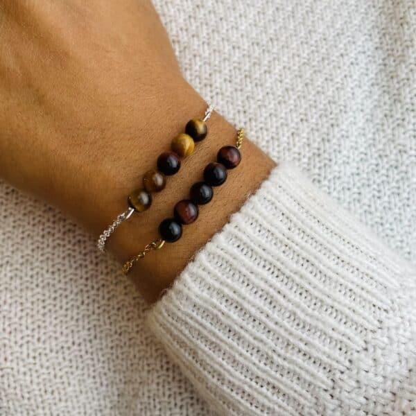 bracelet pentaperle porté double oeil de tigre