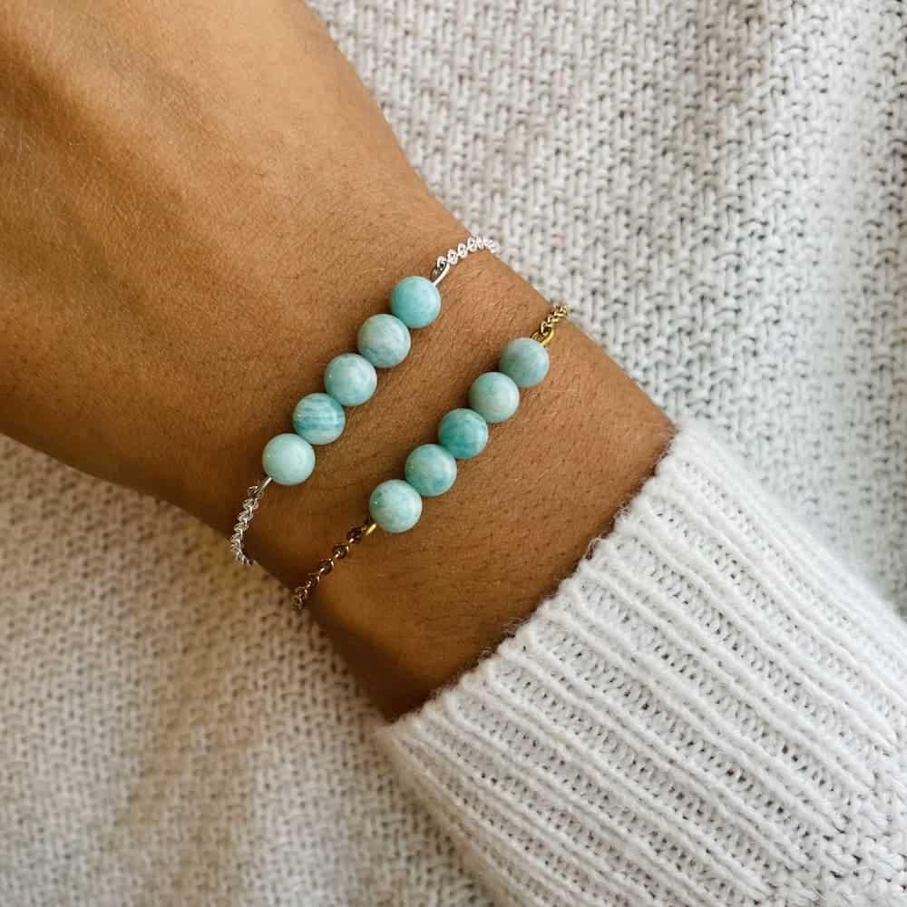 bracelet pentaperle porté double amazonite