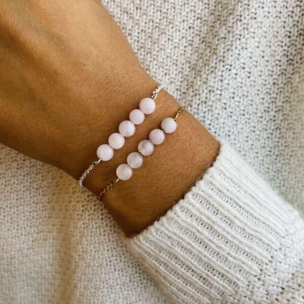 bracelet pentaperle porté double quartz rose