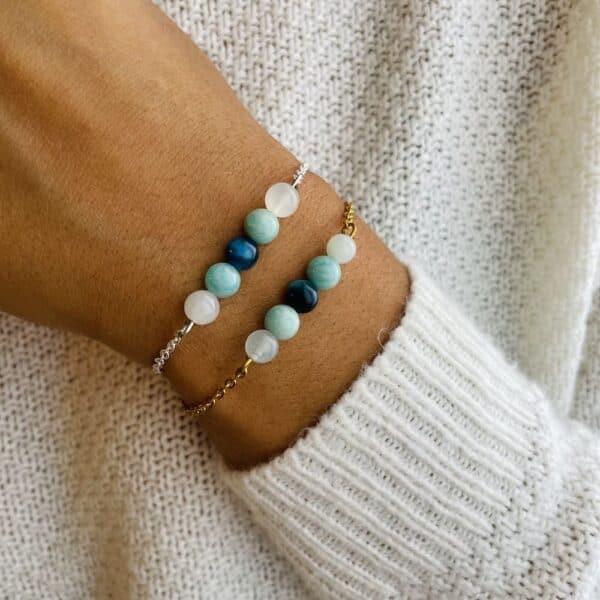 bracelet pentaperle porté double paix intérieure