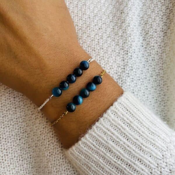 bracelet pentaperle porté double oeil de faucon