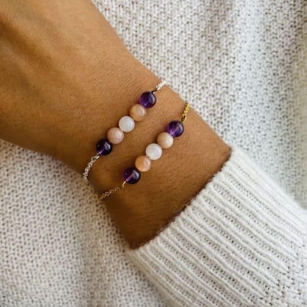 bracelet pentaperle porté double positivite