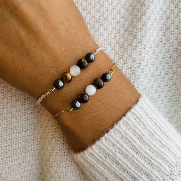 bracelet pentaperle porté double protection