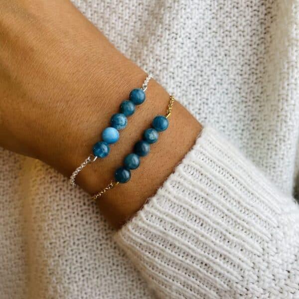 bracelet pentaperle porté double apatite
