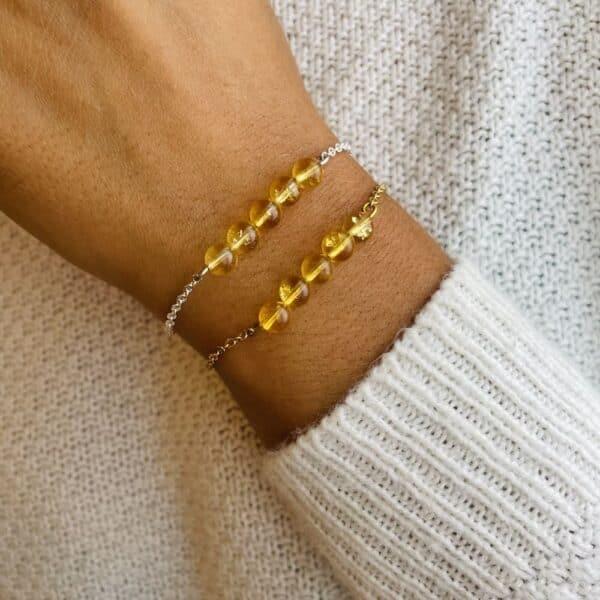 bracelet pentaperle porté citrine