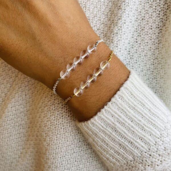 bracelet pentaperle porté quartz