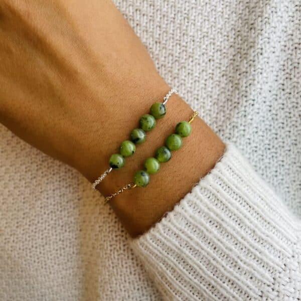 bracelet pentaperle porté jade verte