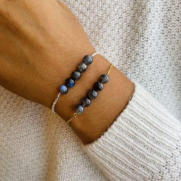 bracelet pentaperle porté labradorite