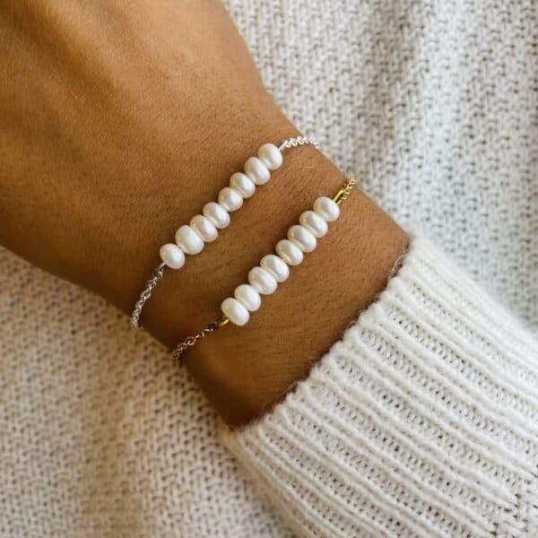 bracelet pentaperle porté perle d'eau douce