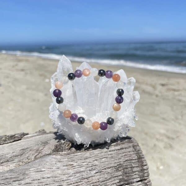 bracelet pierre de lune, soleil hématite