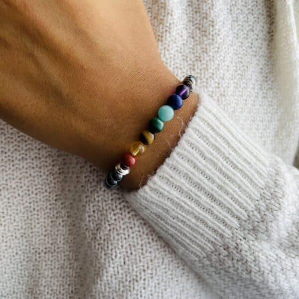 Bracelet Elastic'perles poignet 7 chakra metal