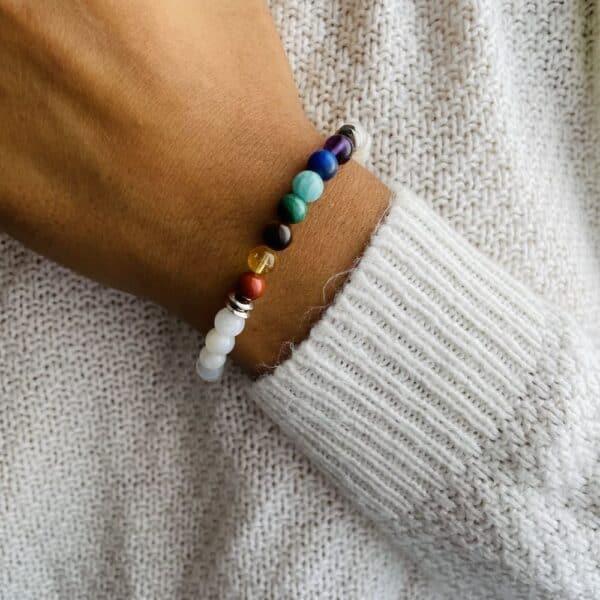 Bracelet Elastic'perles poignet 7 chakras pierre de lune