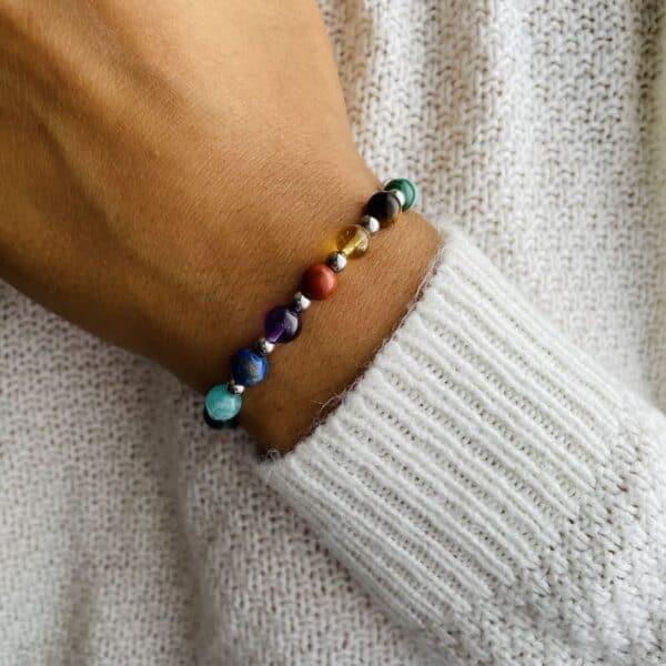 Bracelet Elastic'perles poignet 7 chakras rainbow 2