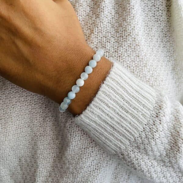 Bracelet Elastic'perles poignet aigue-marine