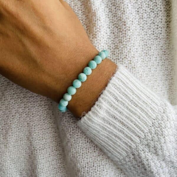 Bracelet Elastic'perles poignet amazonite