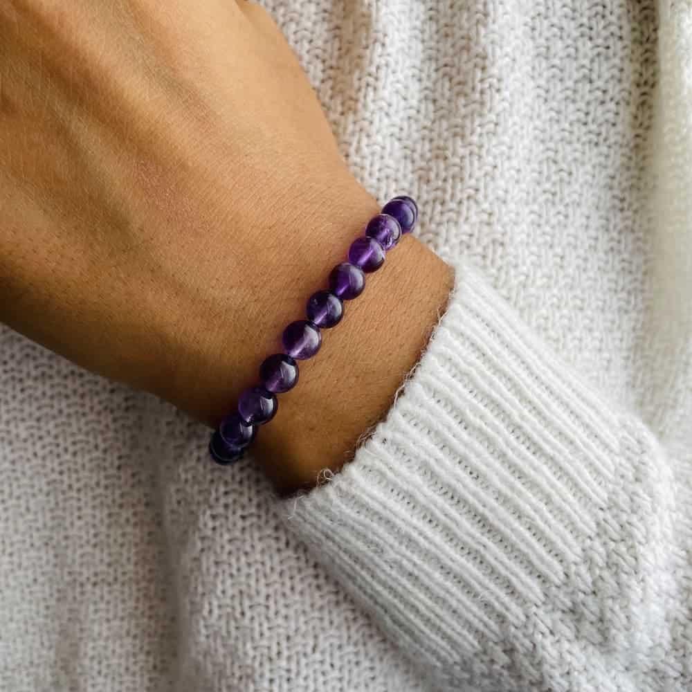 Bracelet Elastic'perles poignet améthyste