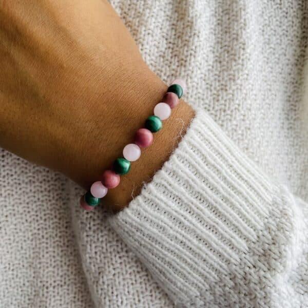 Bracelet Elastic'perles poignet chakra coeur
