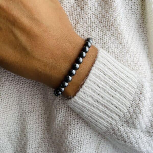 Bracelet Elastic'perles poignet hématite