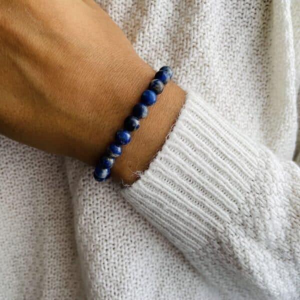 Bracelet Elastic'perles poignet lapis lazuli