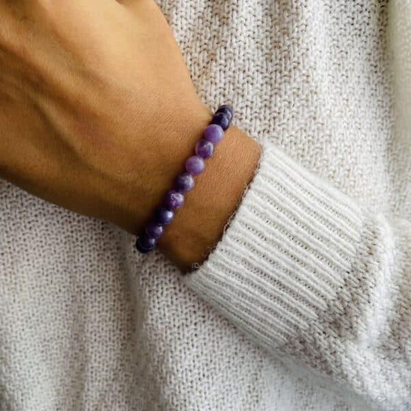 Bracelet Elastic'perles poignet lépidolite