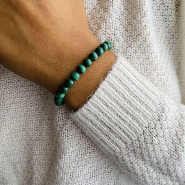 Bracelet Elastic'perles poignet malachite